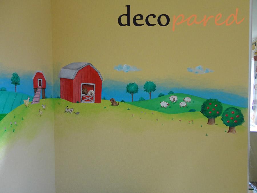 Decopared mural paisaje con granja en cuatro paredes for Cuanto cobrar por pintar un mural