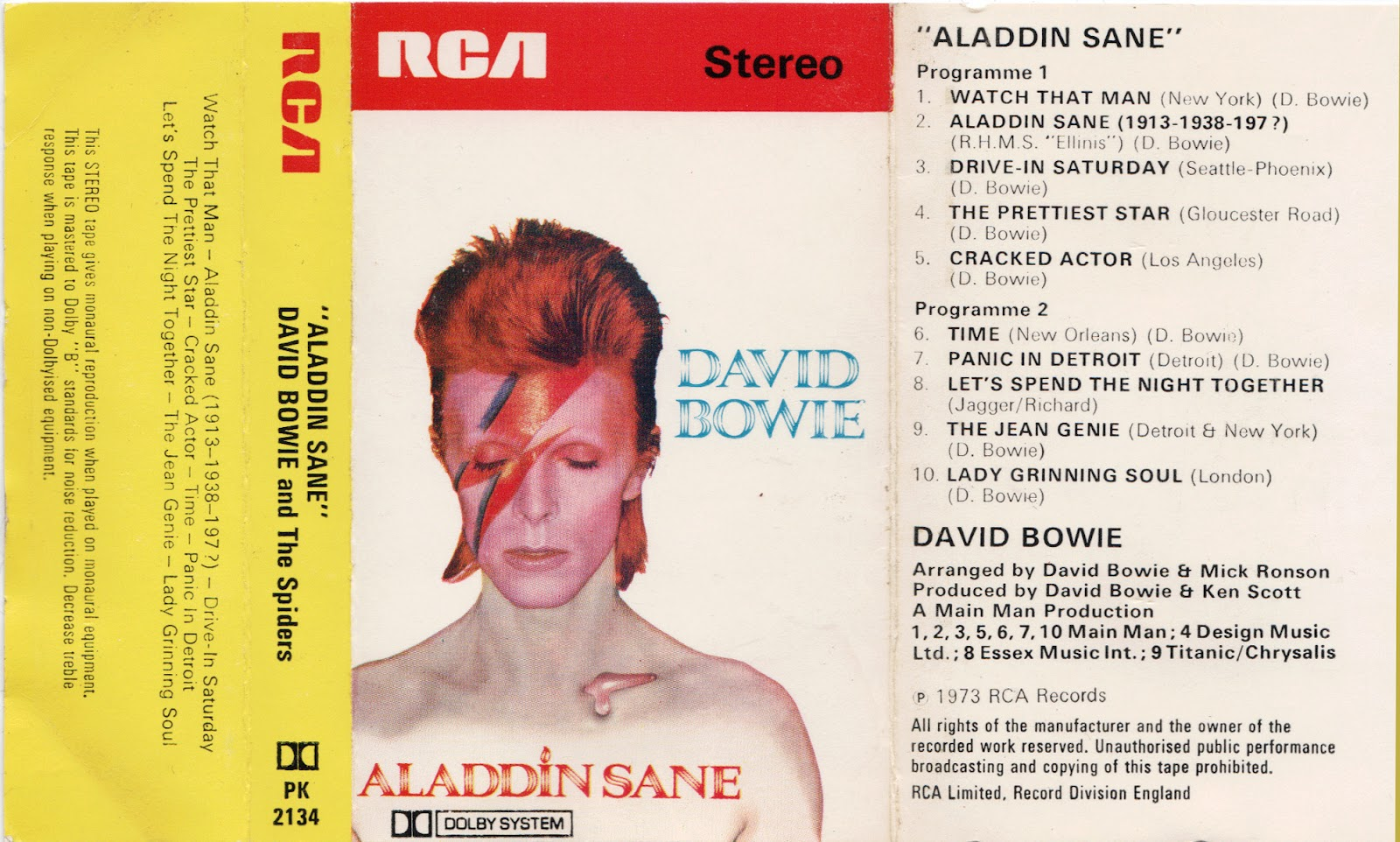 Cassette cover art library while we 39 re at it david bowie - Aladdin singe ...