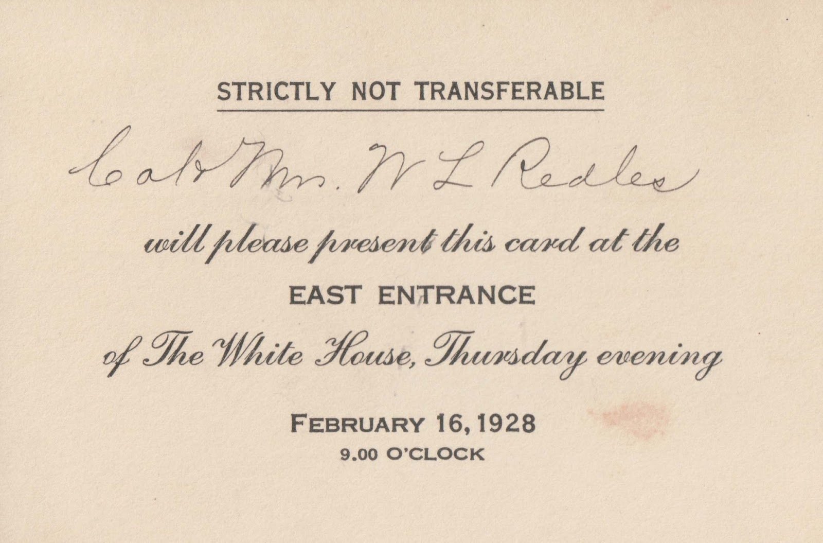 The pendleton genealogy post an invitation to the white house at nine oclock strictly not transferable stopboris Image collections