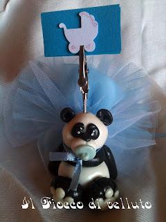 Bomboniere portafoto in pasta di mais Panda