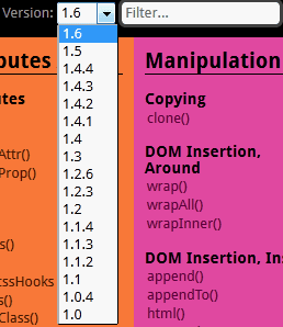 jQuery 速查表多版本選擇