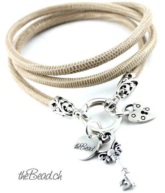 Wickelarmband braun aus leder mit 925 Sterling Silber Elementen