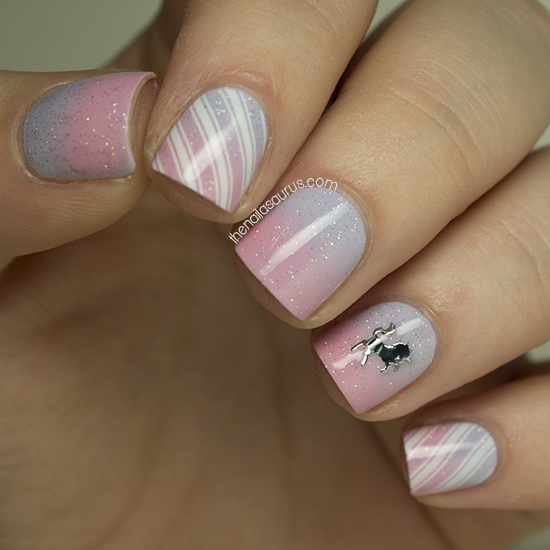 Pink and Purple Gradient Nail Art with a Sprinkling of Fairy Dust