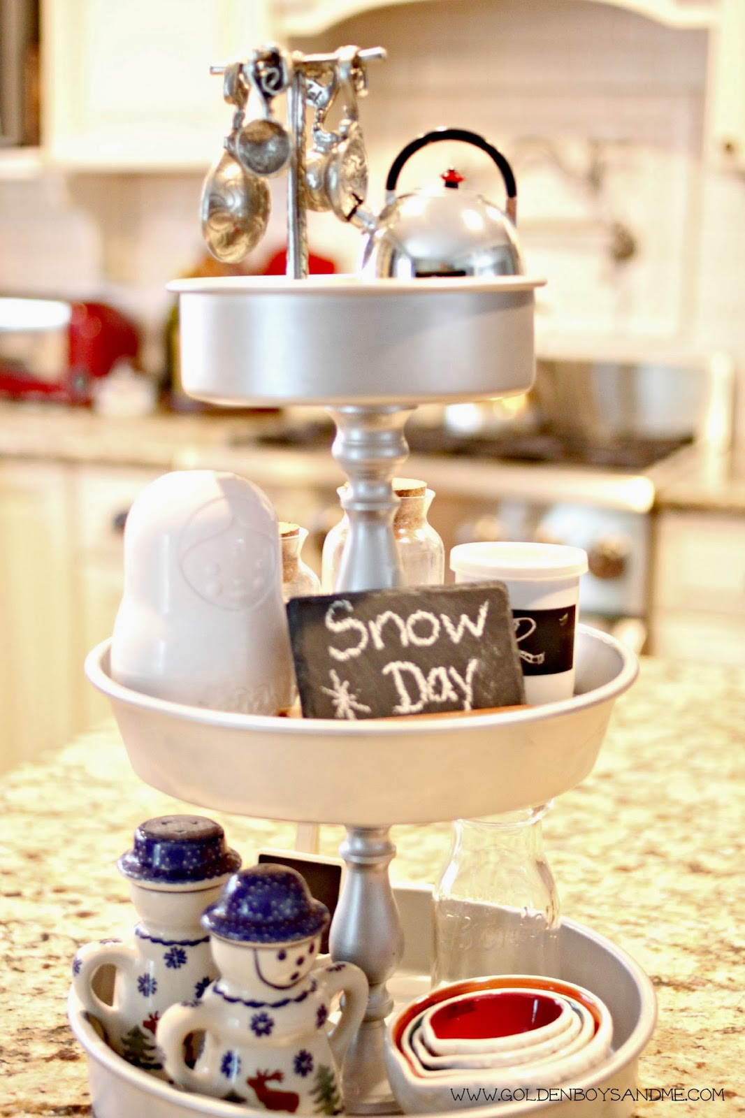 diy 3 tiered kitchen tray with pewter measuring spoons | www.goldenboysandme.com