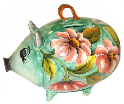 floral-painted piggy bank