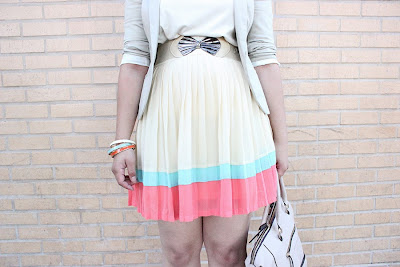 LE TOTE Colorful Pleated Skirt