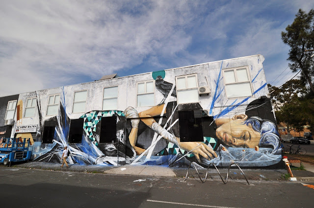 Street Art Collaboration by Shida, Two one, Eno, Taylurk in East Brunswick Melbourne. 1