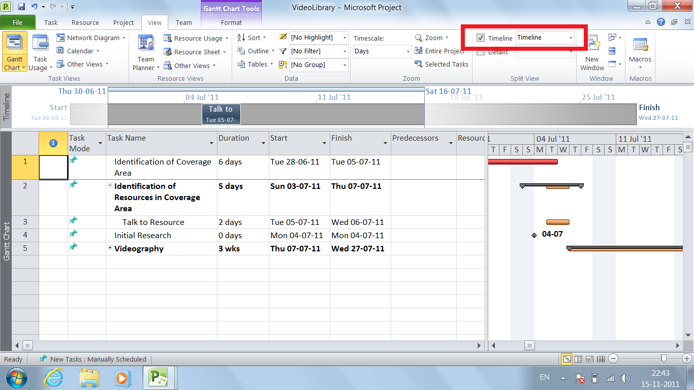 Effective project management how to view timeline in for Microsoft viewer project 2010