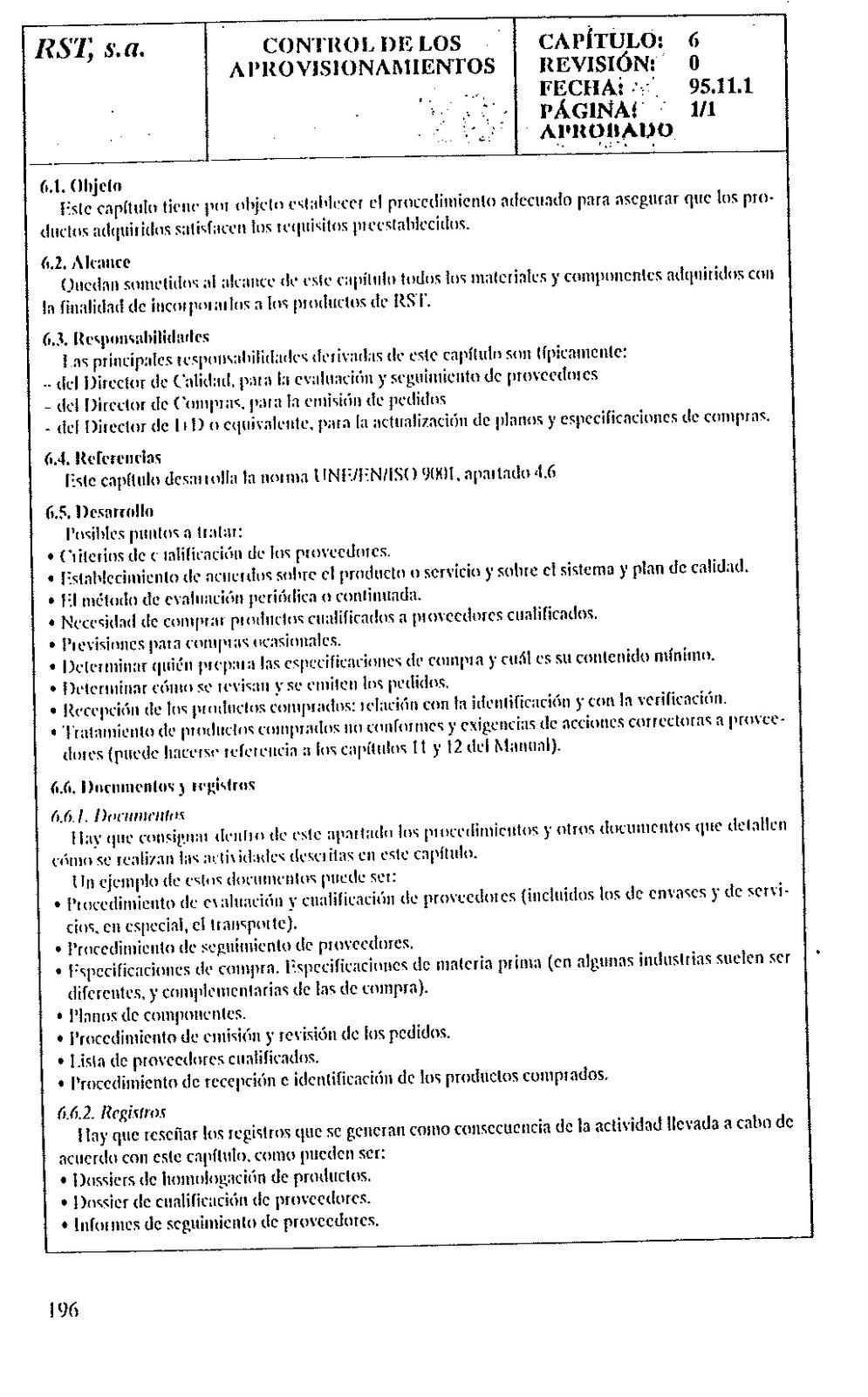 Ejemplo manual de calidad y procedimientos segun iso 9001 for Ejemplo de manual de procedimientos de un restaurante