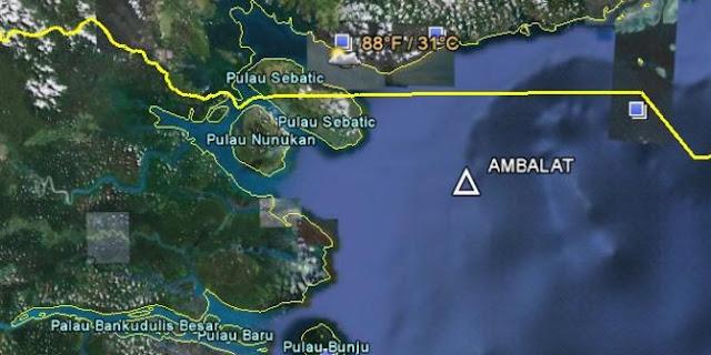 Peta Ambalat yang jadi titik sengketa perbatasan RI-Malaysia