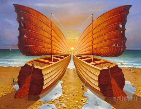 Gennady Privedentsev art paintings surreal Boats and butterfly