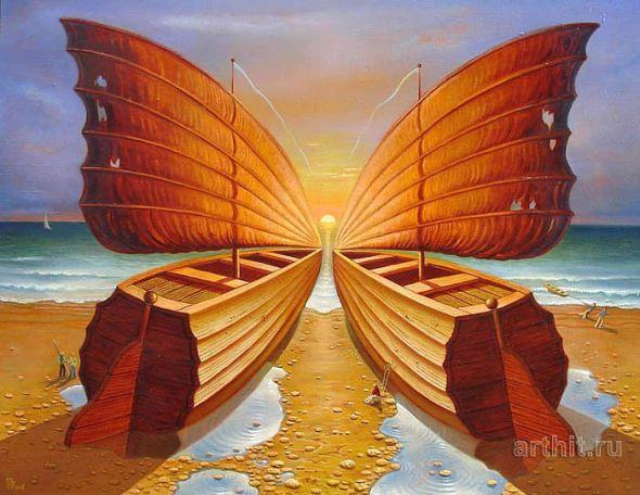 Gennady Privedentsev pinturas arte surreal Os barcos e a borboleta