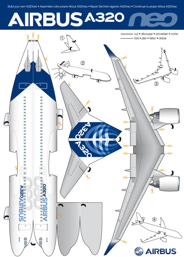 Cut and make your own airbus a320neo in paper bangalore for Cut out airplane template