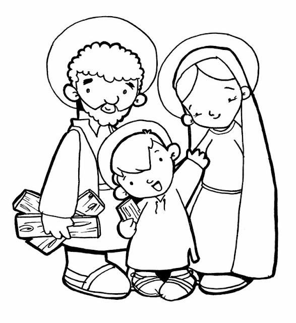 imgenes de la sagrada familia para colorear