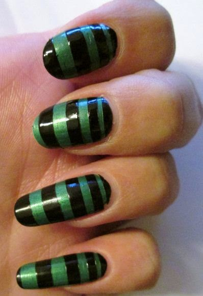 Step By Step Nail Art Designs With Black Stripes for Beginners