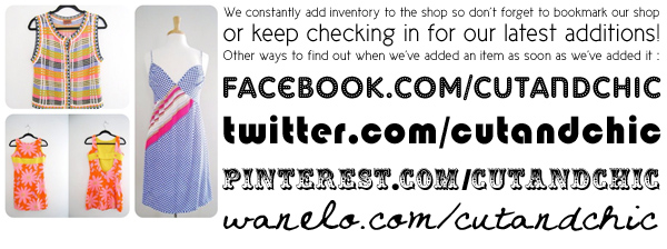 Find us on facebook, twitter, pinterest, and wanelo.