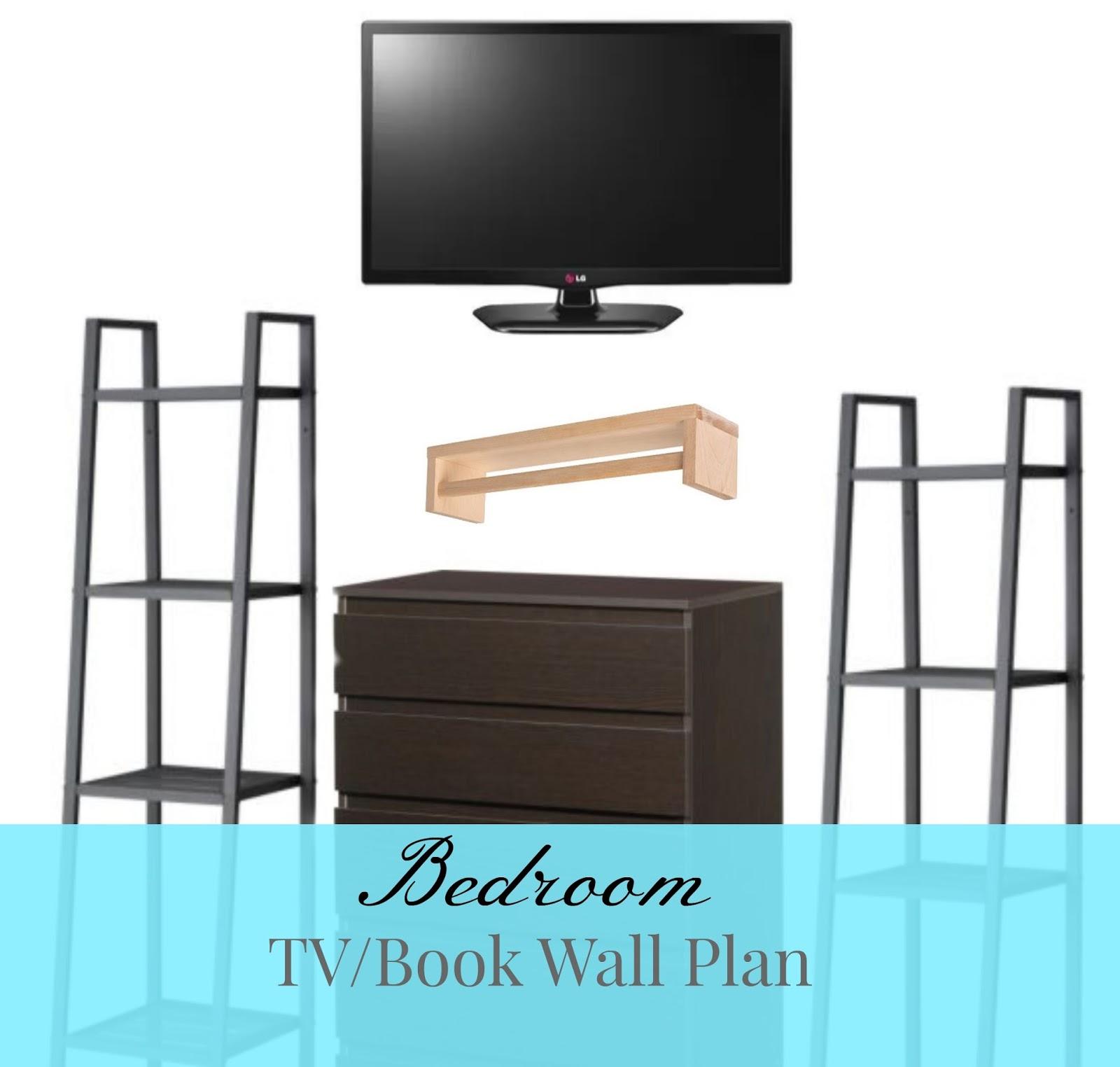 bedroom tv book wall plan