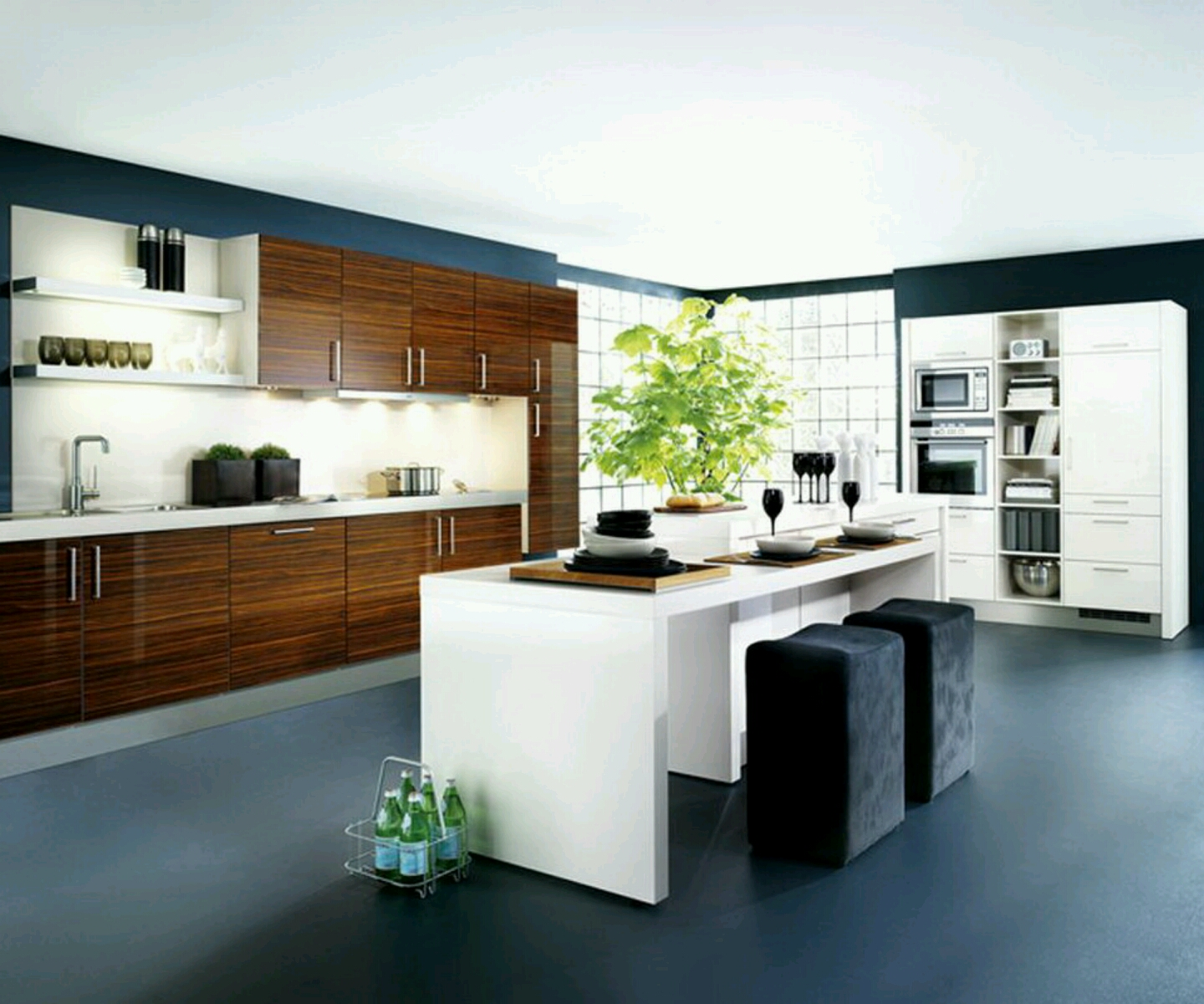 New home designs latest kitchen cabinets designs modern for Latest home kitchen designs