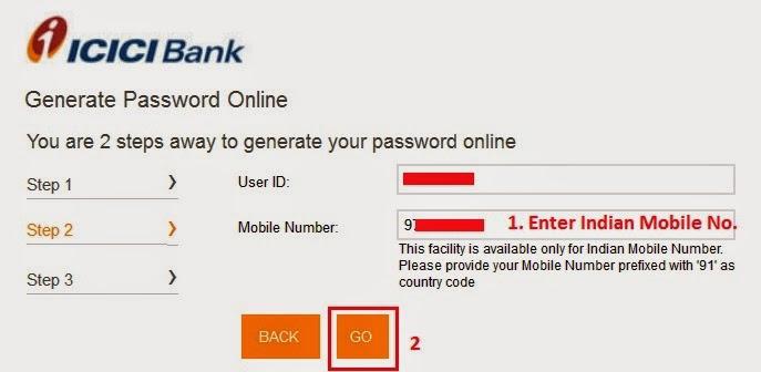ICICI Internet Banking - Generate Password Online
