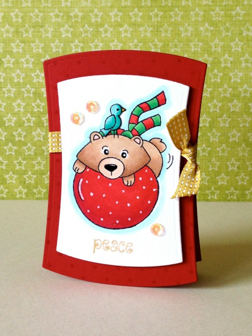 Bear on Holiday Ball Card by Donna Mikasa for Newton's Nook Designs | Winter Tails Stamp set