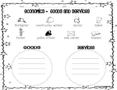 Goods And Services First Grade Goods and services activity/