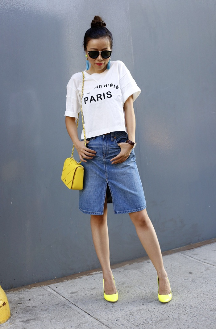 madewell taylor crop graphic tee, madewell denim skirt, karen walker harvest sunglasses, baublebar acid fringe drops, tory burch ROBINSON STITCHED ADJUSTABLE SHOULDER BAG, sole society neon pumps, daniel wellington watches, fashion blog, ny fashion blog, denim skirt street style