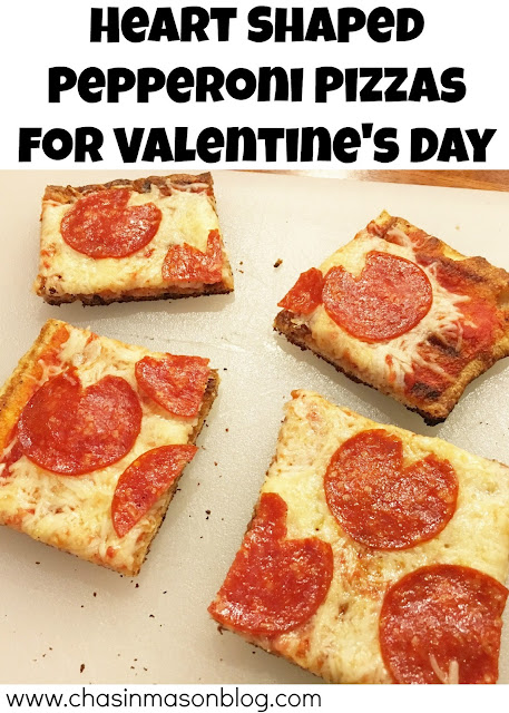 Heart Shaped Pepperoni Pizzas for Valentine's Day [www.chasinmasonblog.com]