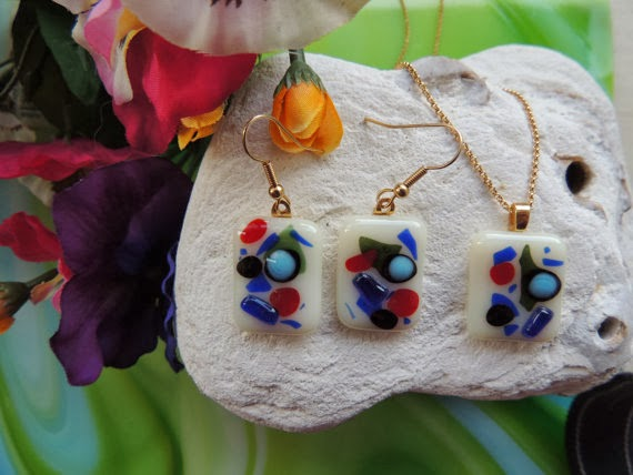 Fused Glass Jewelry Set by Home for Glass Lovers on Etsy