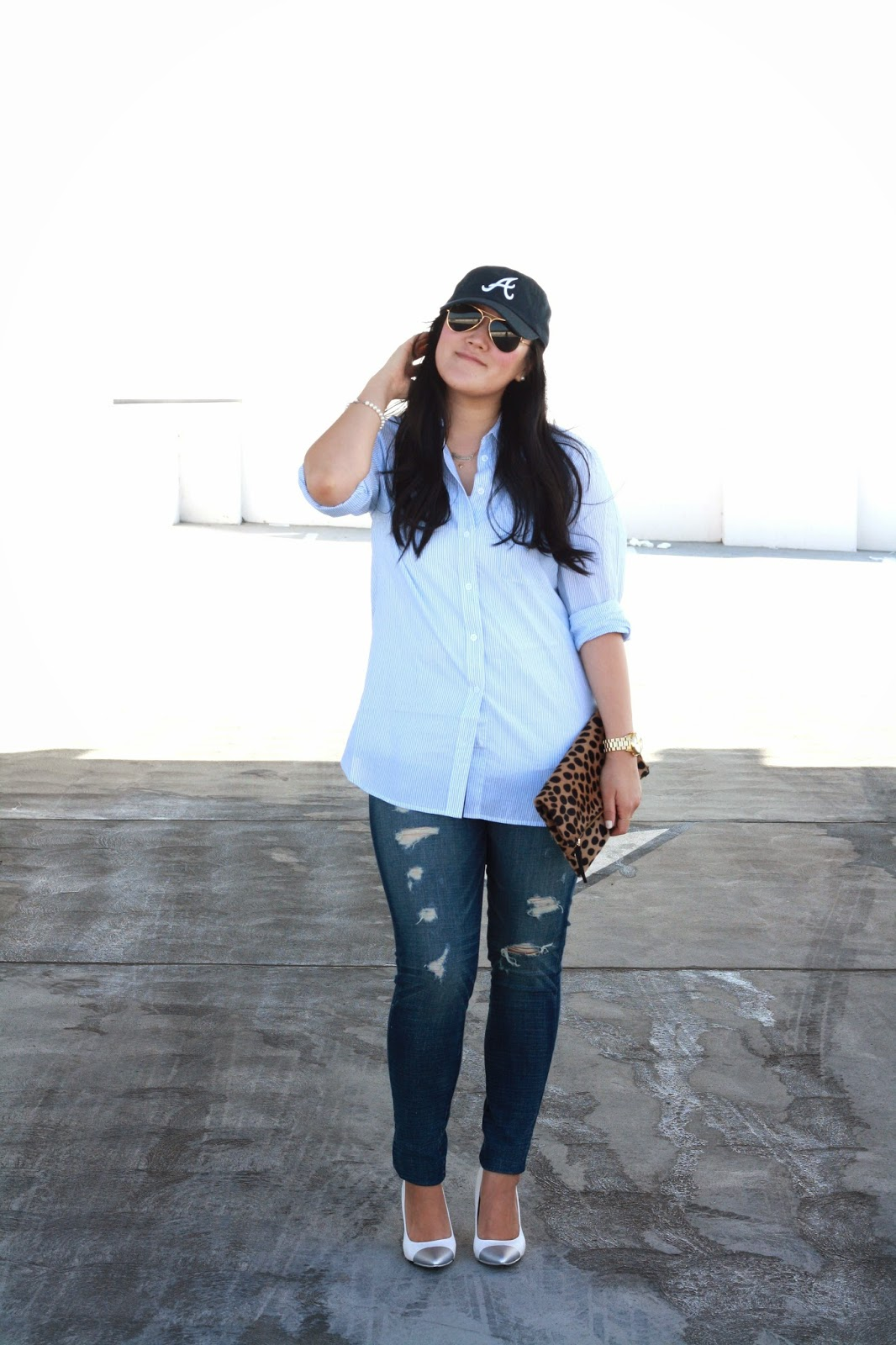 simplyxclassic, equipment top, american eagle denim, clare vivier leopard clutch, ray ban, ootd, style blogger, orange county, southern california