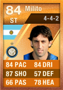 Diego Milito (IF2) 84 - FIFA 12 Ultimate Team Card - Orange MOTM