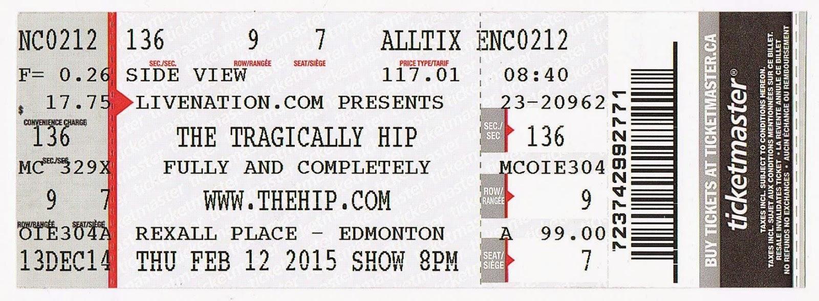 ACIDICA\'s Site: Tragically Hip Live in Edmonton Feb.12th 2015