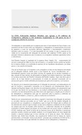 La Federación Sindical Mundial se solidariza y llama a la solidaridad con José Ramón Aragón, delega
