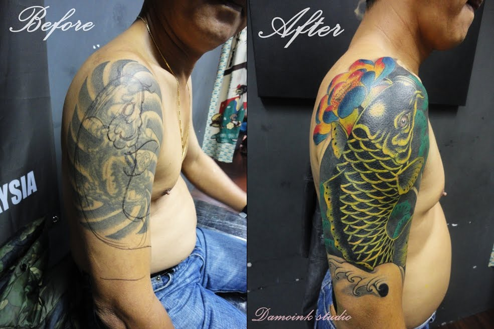 Damoink tattoo malaysia cover up tattoo koi fish for Koi fish cover up