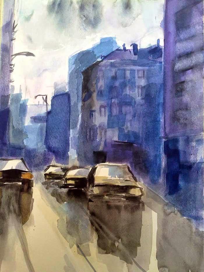 coches y edificios con acuarela