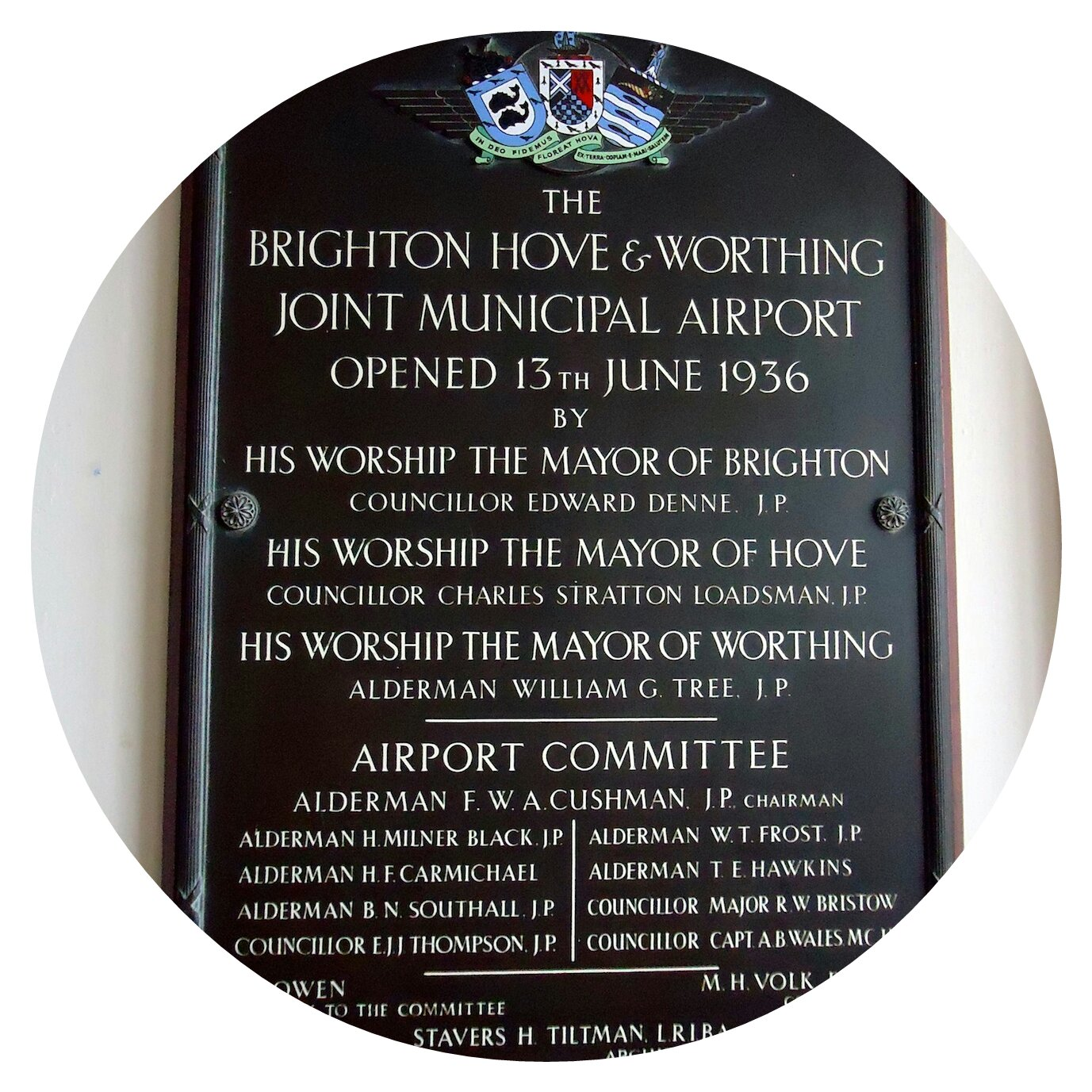 Brighton Hove & Worthing Joint Municipal Airport sign, 1936