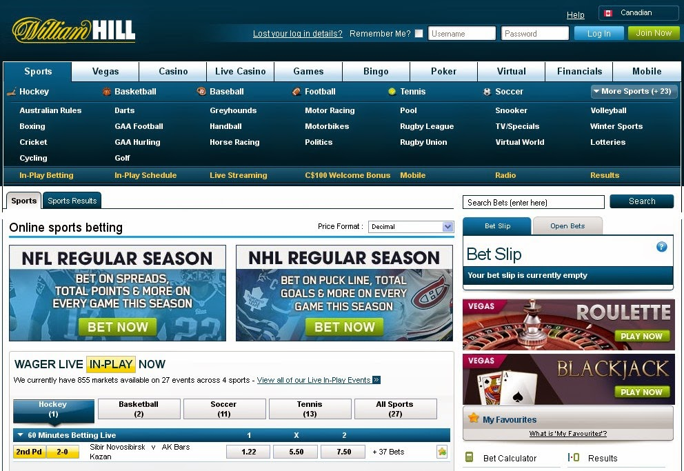 William Hill Sports Offers Screen