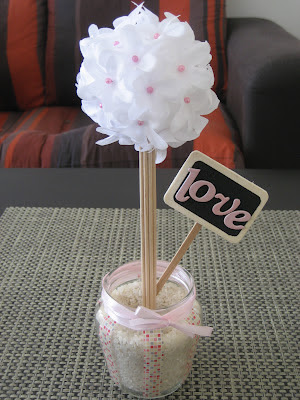 Tutorial topiario blanco y rosa. Topiary DIY. Tuto topiaire