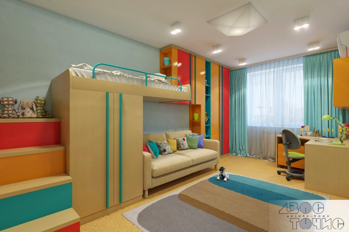 Шафрановый и бирюзовый цвет в детской