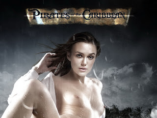 Keira Knightley nude on the Pirates of the Caribbean cover spread legs