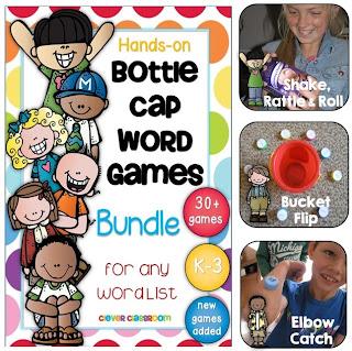 Bottle Cap Center Games for Any Word List Bundled