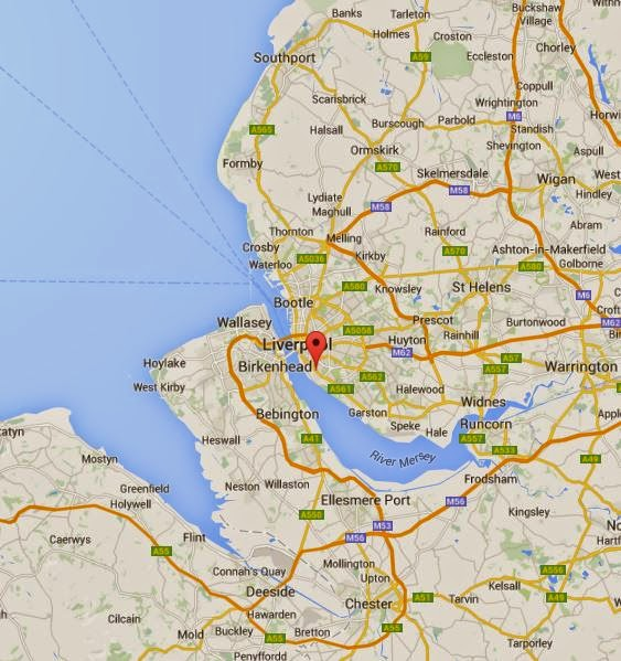 Map showing location of Toxteth Park in Liverpool. (from Google Maps)
