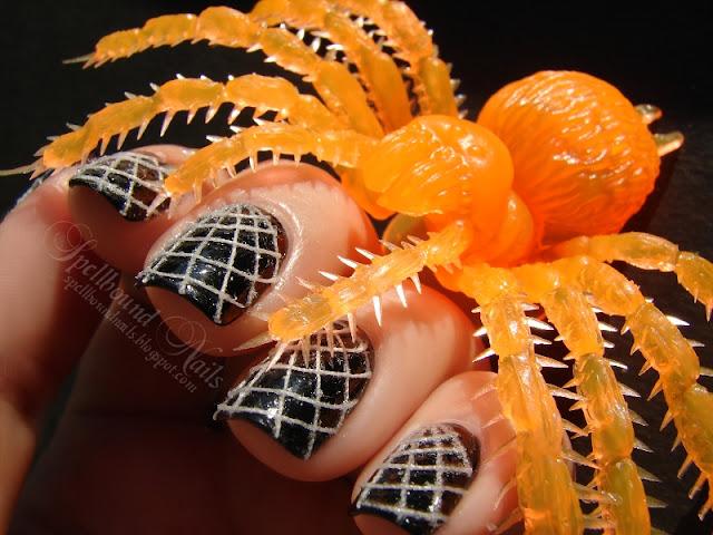 nails nailart nail art polish mani manicure Spellbound thread black white spider web spiderweb Halloween Nail-Aween Challenge