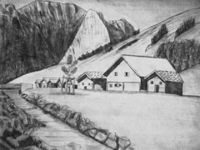 Köy Evi Karakalem çalışması Manzaracizimlericom Kara Kalem