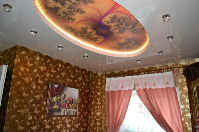 PVC stretched ceilings with printed photo for classic living room