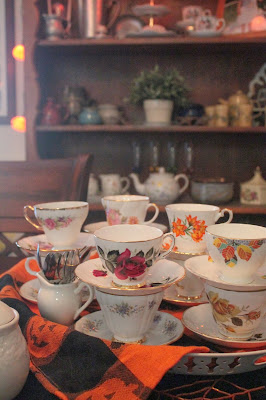 Fall colored, china teacups for Halloween Tea Party