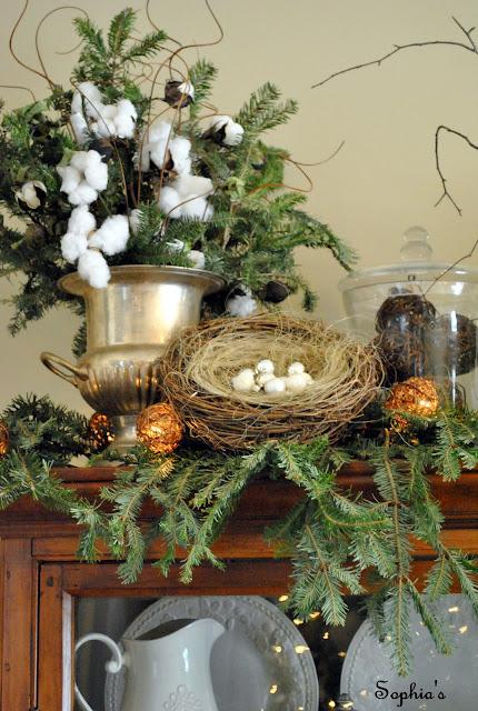 Christmas Cabinet Vignette