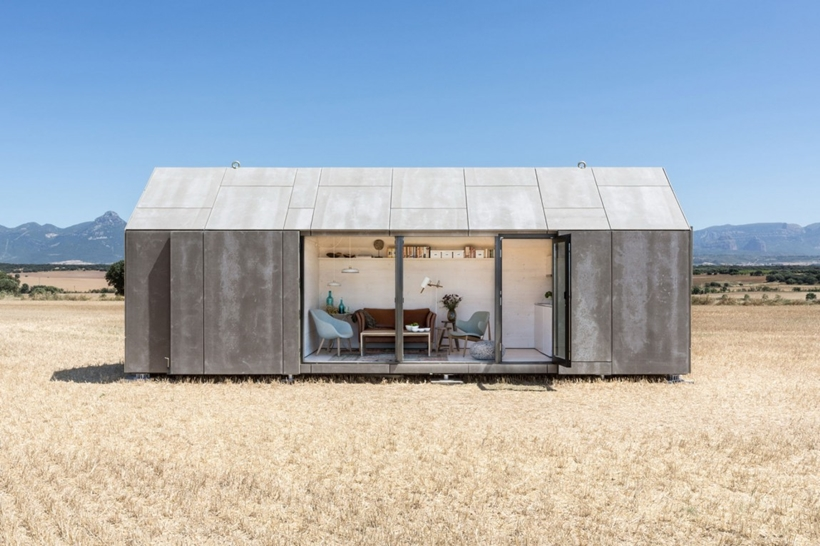 Open portable home in a field