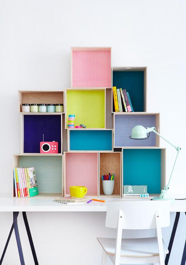 Box shelves diy workspace