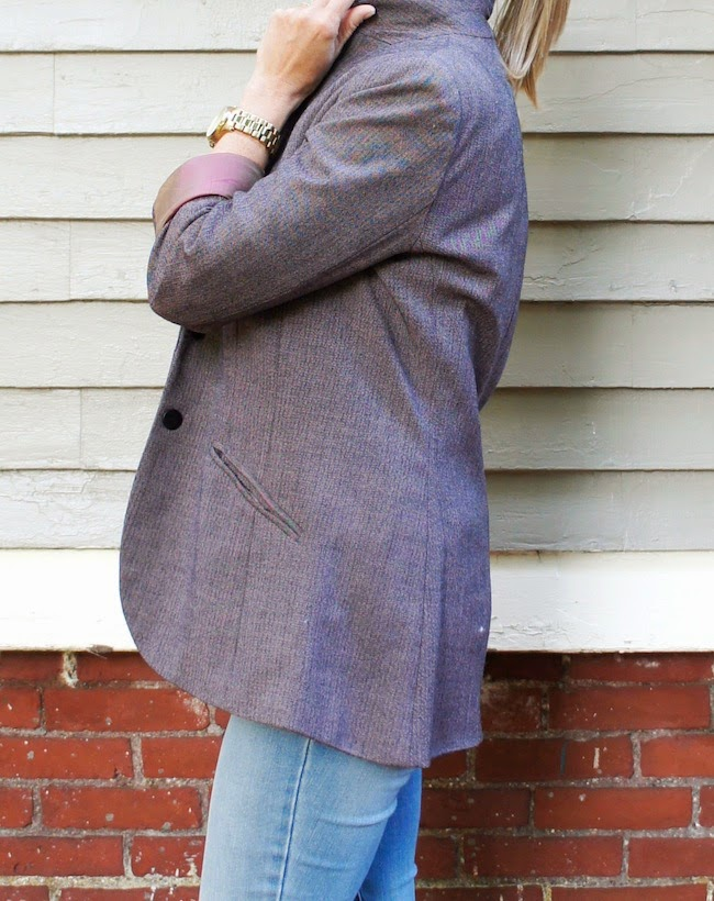 american eagle outfitters denim, purple nicole miller blazer
