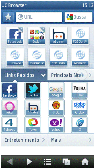 UC Browser - links rápidos